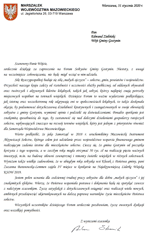 List Marszałka Wójewództwa Mazowieckiego na Forum Sołtysów Gminy Gostynin